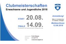 Clubmeisterschaften 2018 - jetzt anmelden